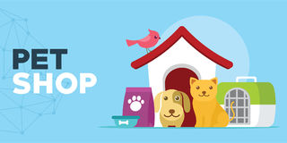 Pet shop with cats and dogs house illustration royalty free illustration