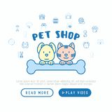 Pet shop concept: cat and dog hug bone. With thin line icons around: collar, kennel, grooming, food, toys. Modern vector illustration, web page template Stock Photo