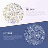 Pet shop concept in circle with thin line icons. Cat, dog, collar, kennel, grooming, food, toys. Modern vector illustration, web page template Royalty Free Stock Photography