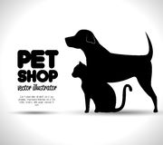 Pet shop concept emblem dog and cat silhouette. Illustration eps 10 Stock Photos