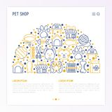 Pet shop concept in half circle. With thin line icons: cat, dog, collar, kennel, grooming, food, toys. Modern vector illustration, web page template Stock Photo