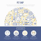 Pet shop concept in half circle. With thin line icons: cat, dog, collar, kennel, grooming, food, toys. Modern vector illustration, web page template Stock Images