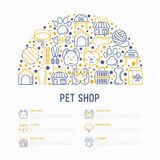 Pet shop concept in half circle. With thin line icons: cat, dog, collar, kennel, grooming, food, toys. Modern vector illustration, web page template Royalty Free Stock Photography