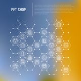 Pet shop concept in honeycombs. With thin line icons: cat, dog, collar, kennel, grooming, food, toys. Modern vector illustration, web page template Stock Photo