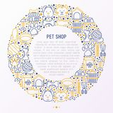 Pet Shop Concept In Circle With Thin Line Icons Royalty Free Stock Photography