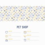 Pet shop concept with thin line icons. Cat, dog, collar, kennel, grooming, food, toys. Modern vector illustration, web page template Stock Photos