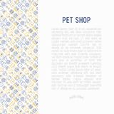 Pet shop concept with thin line icons. Cat, dog, collar, kennel, grooming, food, toys. Modern vector illustration, web page template Stock Photography