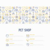 Pet shop concept with thin line icons. Cat, dog, collar, kennel, grooming, food, toys. Modern vector illustration, web page template Stock Photo