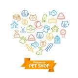 Pet Shop Concept. Vector. Pet Shop Concept. Icons Outline in  Shape of a Heart. Vector illustration Royalty Free Stock Photo