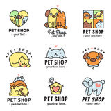 Pet shop cute logos multicolored vector set. Can be used as stickers. Stock Image