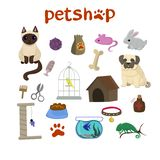Pet shop decorative icons set with canary, fish, chameleon, rabbit, dog and cat icons and goods for pets cartoon vector illustration