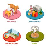 Pet Shop 2x2 Design Concept. With dog breeds goods for pet parrot fish and reptiles isometric icons vector illustration Stock Images