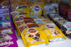 Free Pet Shop. Dog And Cat Food Products On Animals Supermarket Shelf. Kropivnitskiy, Ukraine, July 28, 2020 Stock Photos - 197036393