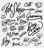 Pet shop and dog care handwriting calligraphy Stock Images