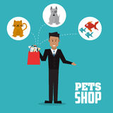 Pet shop with dog, cat, fish and man design, Vector illustration Stock Photography