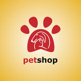 Pet shop. Dog and cat symbol. Vector. Paw logo template, animal day care and pet shop Stock Photo