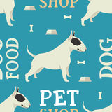 Pet shop Dog food seamless pattern Bull terrier. Set Royalty Free Stock Photography