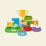 Pet shop, dog goods and supplies, store products for care. Pet shop, dog goods and supplies, store products for dog care Royalty Free Stock Photo