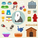 Pet shop, dog goods and supplies, store products for care Royalty Free Stock Photos