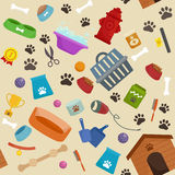 Pet shop, dog goods and supplies, store products for care Stock Photos