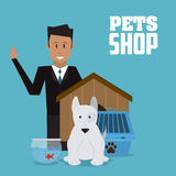 Pet shop with dog and man design, Vector illustration. Pet shop concept with icon design, vector illustration 10 eps graphic Royalty Free Stock Photography