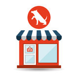 Pet shop with dog up hand Royalty Free Stock Photography