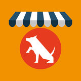 Pet shop with dog up hand Royalty Free Stock Photo