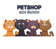 Pet shop emblem with kittens design Royalty Free Stock Photo
