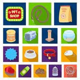 Pet shop flat icons in set collection for design.The goods for animals vector symbol stock web illustration. Pet shop flat icons in set collection for design Stock Photography