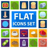 Pet shop flat icons in set collection for design.The goods for animals vector symbol stock web illustration. Pet shop flat icons in set collection for design Royalty Free Stock Photos