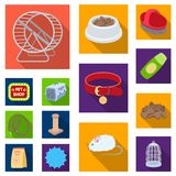 Pet shop flat icons in set collection for design.The goods for animals vector symbol stock web illustration. Pet shop flat icons in set collection for design Royalty Free Stock Images