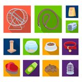 Pet shop flat icons in set collection for design.The goods for animals vector symbol stock web illustration. Pet shop flat icons in set collection for design Royalty Free Stock Image