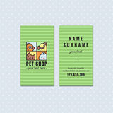 Pet shop green vector business card. Cute square logo with pets. Royalty Free Stock Image