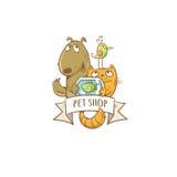Pet shop icon. Cute cartoon dog, cat, parrot and aquarium fish.  Vector image Stock Image