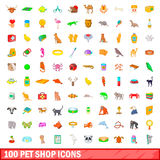 100 pet shop icons set, cartoon style. 100 pet shop icons set in cartoon style for any design illustration Royalty Free Stock Image