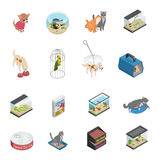 Pet Shop Icons Set. Pet shop isometric icons set with cats and dogs isolated vector illustration Royalty Free Stock Images