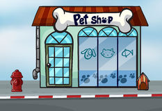 A pet shop. Illustration of a pet shop near a street Royalty Free Stock Photo