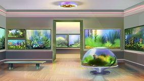 Pet Shop Indoor Image one. Digital painting of the interior of pet shop with aquariums Stock Photography