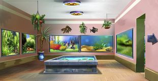 Pet Shop Indoor Image two. Digital painting of the interior of pet shop with aquariums Royalty Free Stock Photography