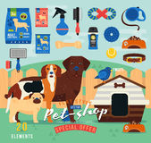 Pet shop items set. Vector grooming icon. Illustration of accessories, toys, goods for care of pets. Flat. Domestic animals. Pug, labrador, beagle - stylized royalty free illustration