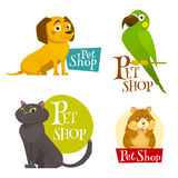 Pet shop labels emblems set isolated on white, cartoon vector illustration Royalty Free Stock Image