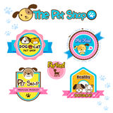 Pet shop labels. And stickers, collection dog and cat symbol Royalty Free Stock Images