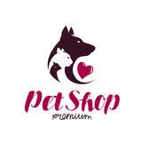 Pet shop logo. Animal shelter, dog, cat, parrot icon or label. Lettering vector illustration. Pet shop logo. Animals, dog, cat, parrot icon or label. Lettering Royalty Free Stock Photo