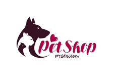 Pet shop logo. Animals cat, dog, parrot icon. Vector illustration Royalty Free Stock Photos