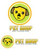 Pet Shop Logo with Dog Face Stock Photo