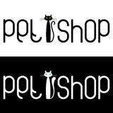 Pet shop logo template on a black or white background. Stock Photography