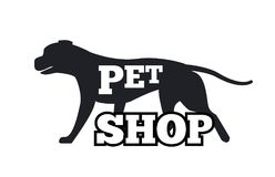 Pet Shop Logotype Design Canine Animal Silhouette. Advertisement poster vector illustration isolated on white background, noble purebred puppy vector illustration