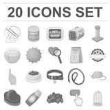 Pet shop monochrome icons in set collection for design.The goods for animals vector symbol stock web illustration. Pet shop monochrome icons in set collection Royalty Free Stock Image