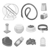 Pet shop monochrome icons in set collection for design.The goods for animals vector symbol stock web illustration. Pet shop monochrome icons in set collection Stock Photography