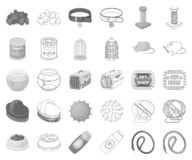 Pet shop monochrome,outline icons in set collection for design.The goods for animals vector symbol stock web. Pet shop monochrome,outline icons in set collection royalty free illustration